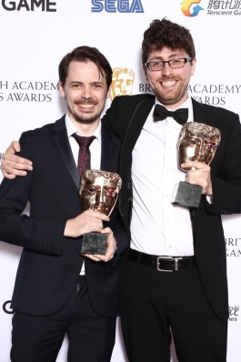 Phil and Oli, picking up their two BAFTAs for Overcooked!