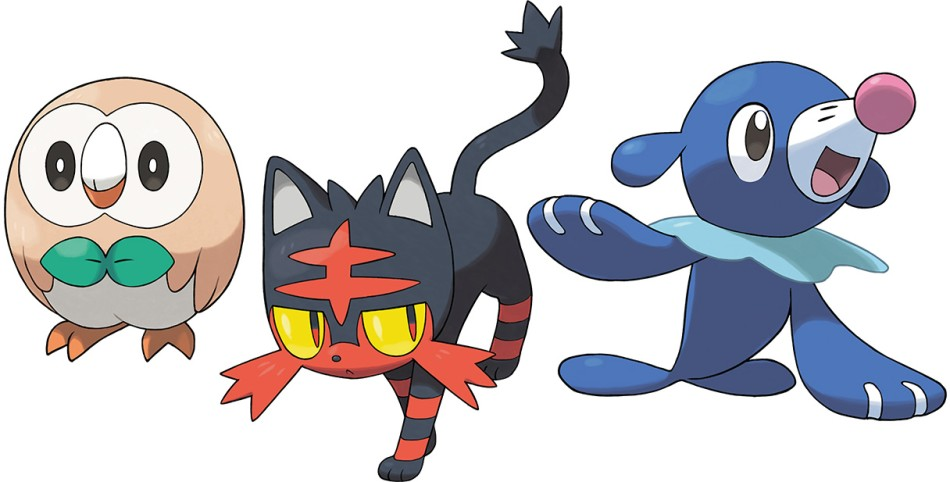 Pictured from left to right: Rowlet, Litten and Popplio