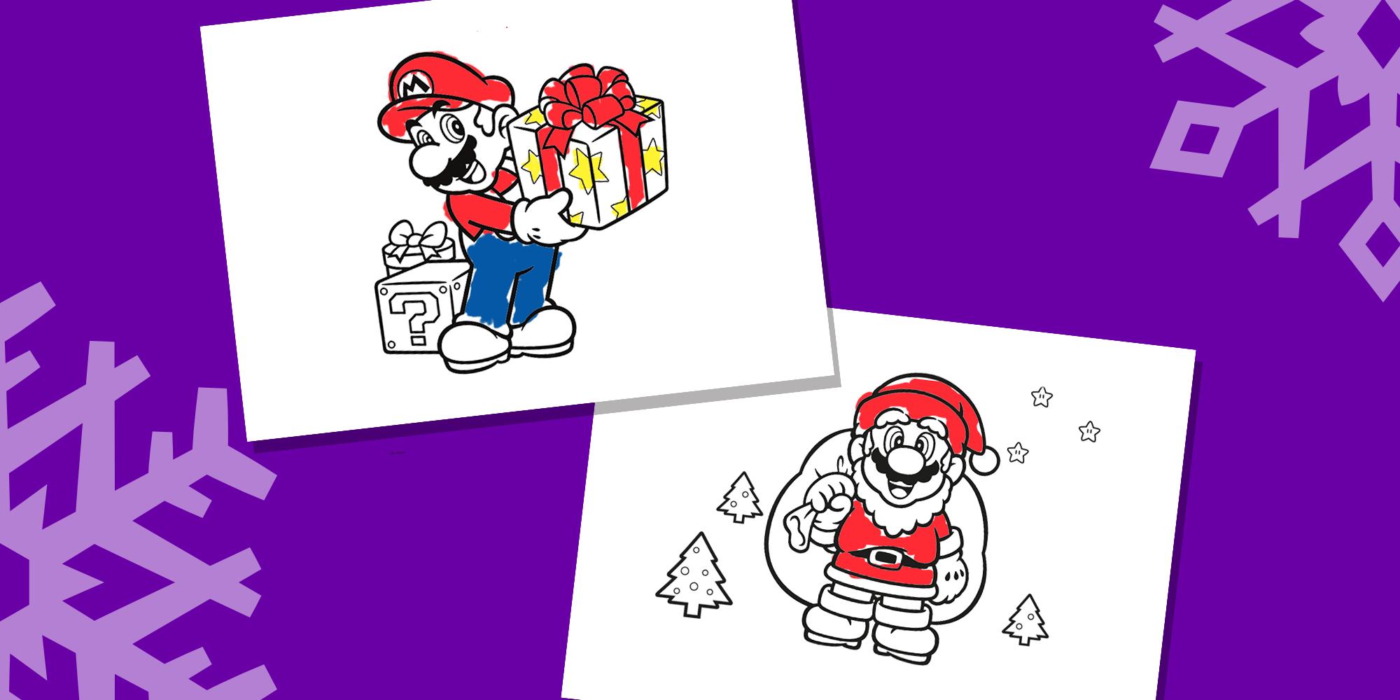 Kleurplaten Feestdagen.Mario Kleurplaten Voor De Feestdagen Nintendo Kids
