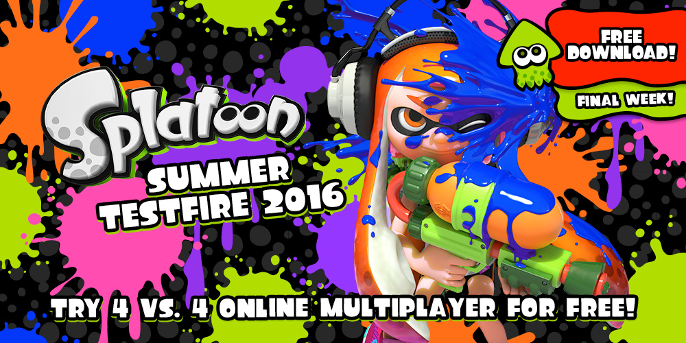 Join the ink-flinging fun for free with the Splatoon Summer Testfire 2016 – starting today!