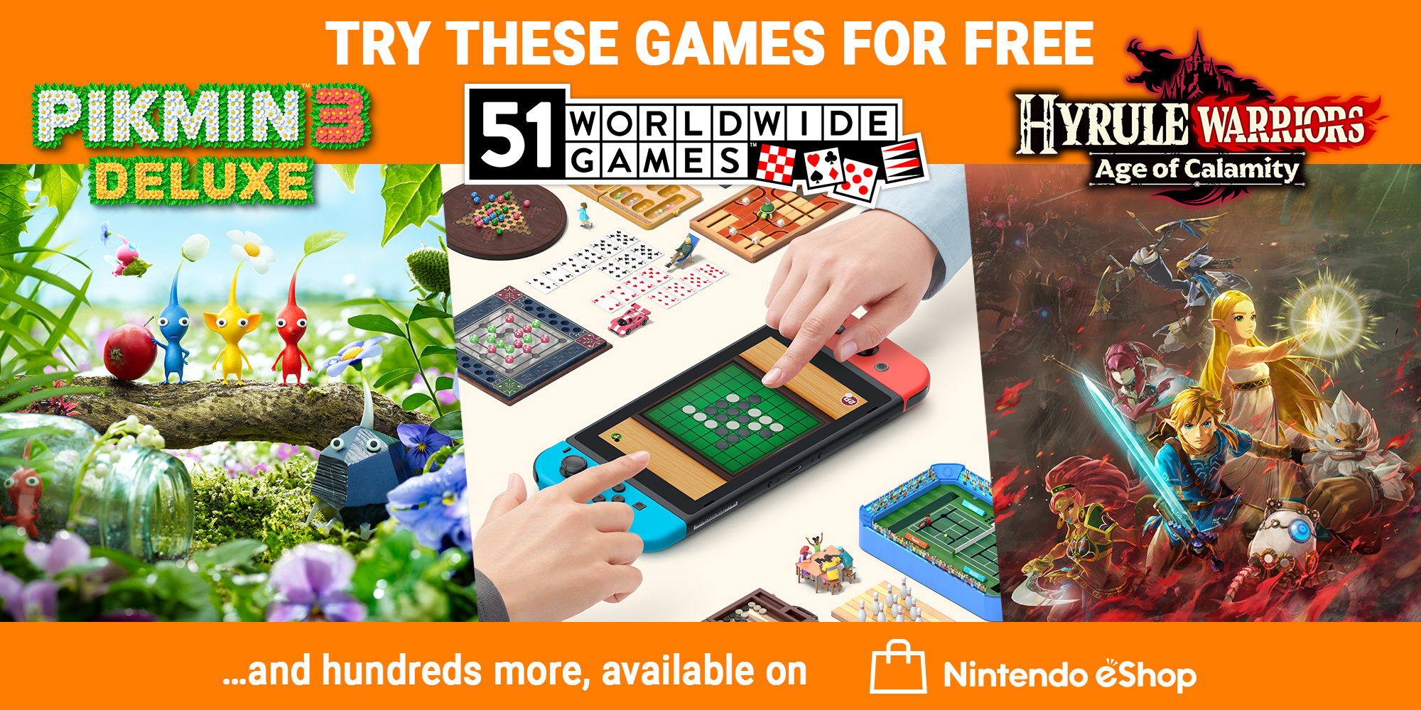 Try three great games for free on Nintendo Switch!
